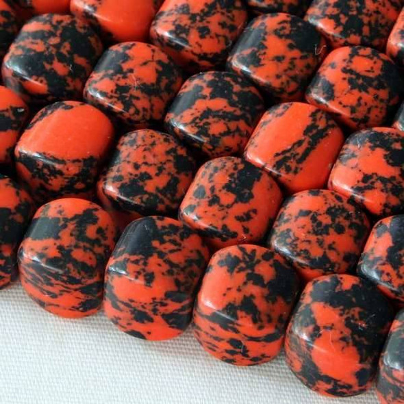 Synthetic Team Color 8mm Orange and Black Cushion Beads - approx. 8 inch strand
