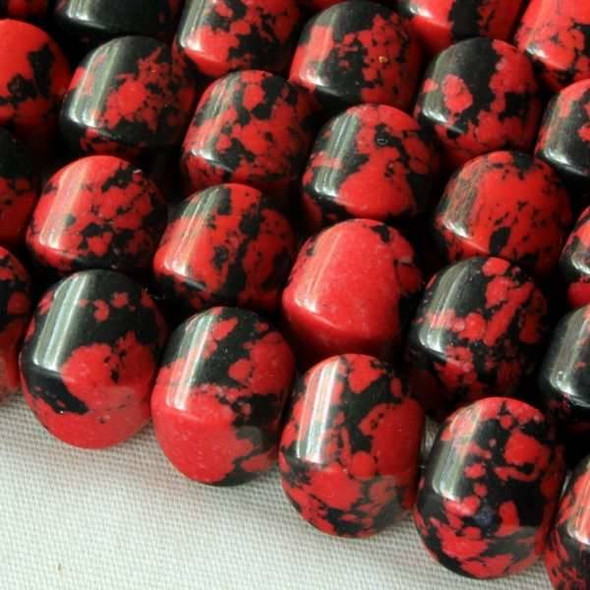 Synthetic Team Color 8mm Red and Black Cushion Beads - approx. 8 inch strand