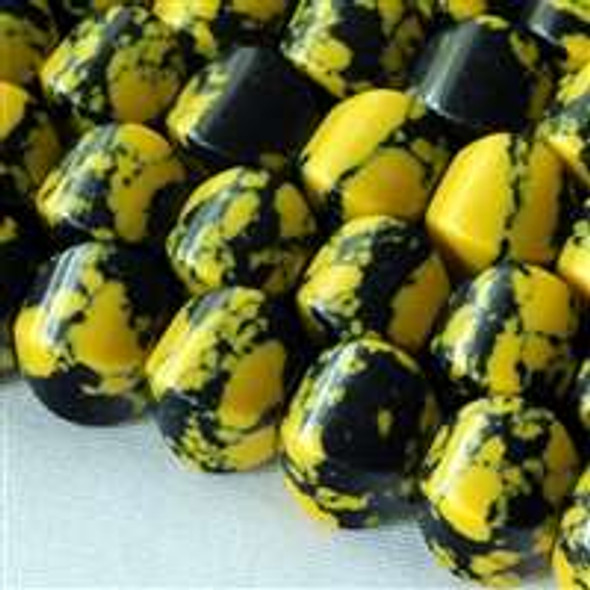 Synthetic Team Color 8mm Yellow and Black Cushion Beads - approx. 8 inch strand