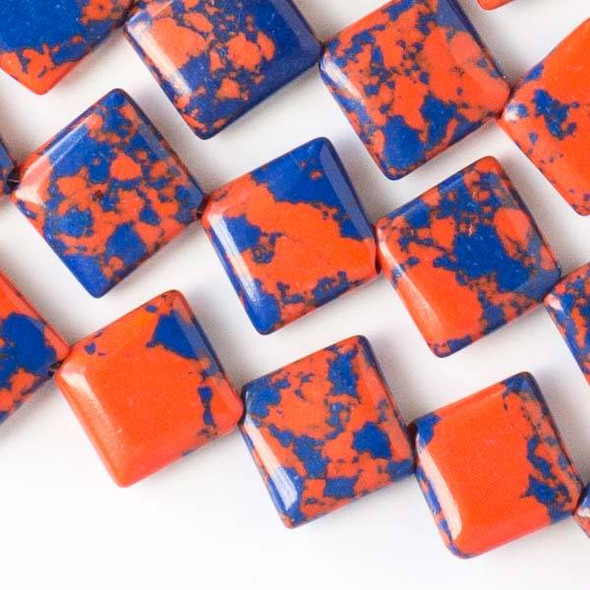 Special Synthetic Team Color 10mm Blue and Orange Diagonal Drilled Square Beads - approx. 8 inch strand