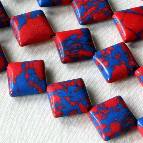 Synthetic Team Color 10mm Blue and Red Diagonal Drilled Square Beads - approx. 8 inch strand