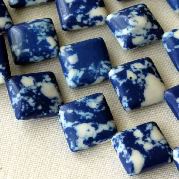 Synthetic Team Color 10mm Blue and White Diagonal Drilled Square Beads - approx. 8 inch strand