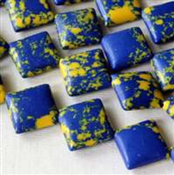 Synthetic Team Color 10mm Blue and Yellow Diagonal Drilled Square Beads - approx. 8 inch strand