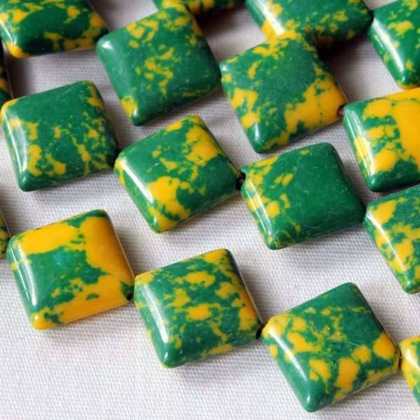 Synthetic Team Color 10mm Green and Yellow Diagonal Drilled Square Beads - approx. 8 inch strand