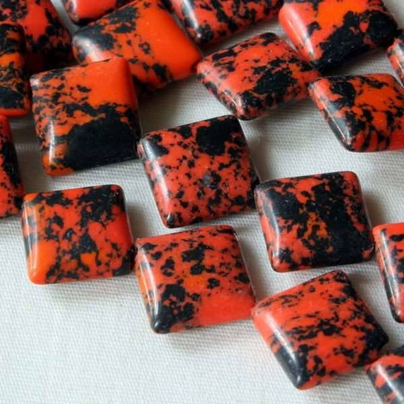 Synthetic Team Color 10mm Orange and Black Diagonal Drilled Square Beads - approx. 8 inch strand