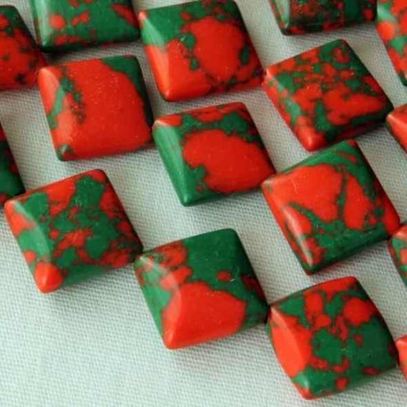 Synthetic Team Color 10mm Orange and Green Diagonal Drilled Square Beads - approx. 8 inch strand