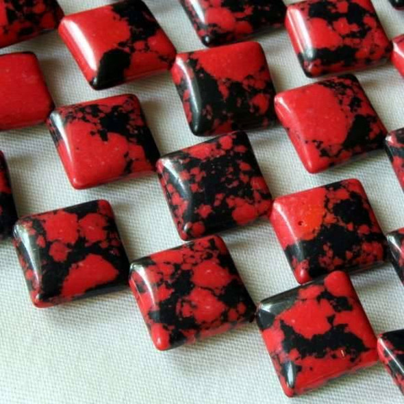 Synthetic Team Color 10mm Red and Black Diagonal Drilled Square Beads - approx. 8 inch strand