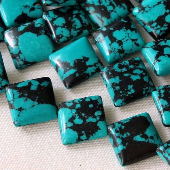Synthetic Team Color 10mm Teal and Black Diagonal Drilled Square Beads - approx. 8 inch strand