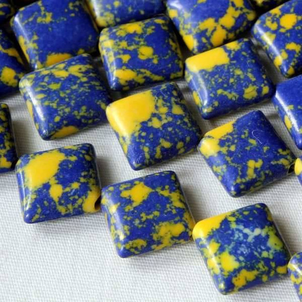 Synthetic Team Color 10mm Yale Blue and Yellow Diagonal Drilled Square Beads - approx. 8 inch strand