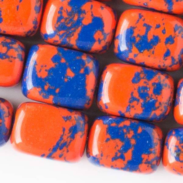 Special Synthetic Team Color 10x14mm Blue and Orange Nugget Beads - approx. 8 inch strand