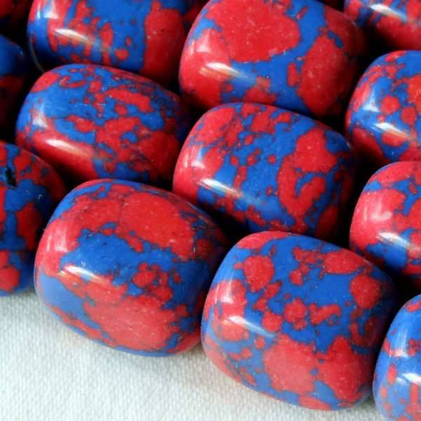 Synthetic Team Color 10x14mm Blue and Red Nugget Beads - approx. 8 inch strand