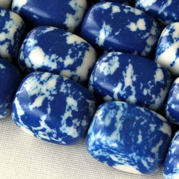 Synthetic Team Color 10x14mm Blue and White Nugget Beads - approx. 8 inch strand