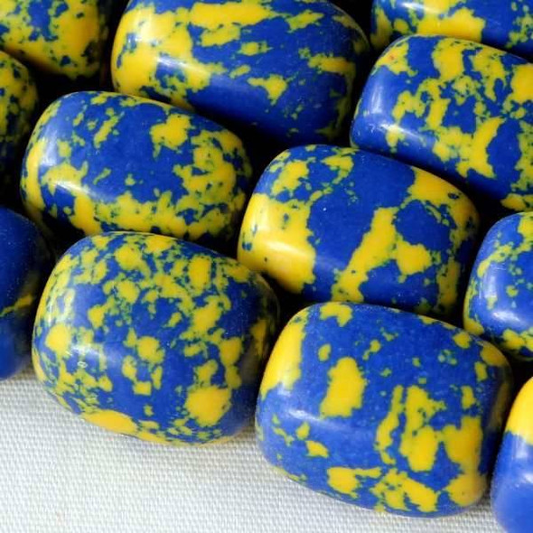 Synthetic Team Color 10x14mm Blue and Yellow Nugget Beads - approx. 8 inch strand
