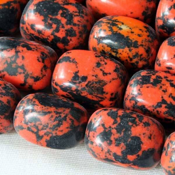Synthetic Team Color 10x14mm Orange and Black Nugget Beads - approx. 8 inch strand