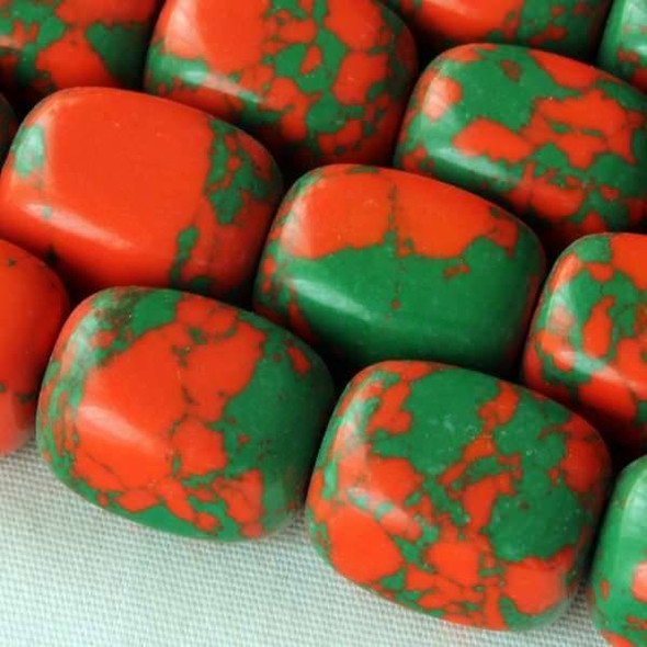 Synthetic Team Color 10x14mm Orange and Green Nugget Beads - approx. 8 inch strand