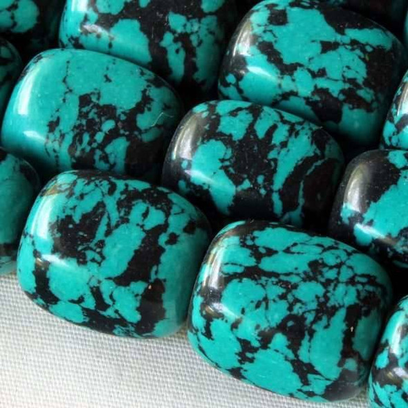 Synthetic Team Color 10x14mm Teal and Black Nugget Beads - approx. 8 inch strand