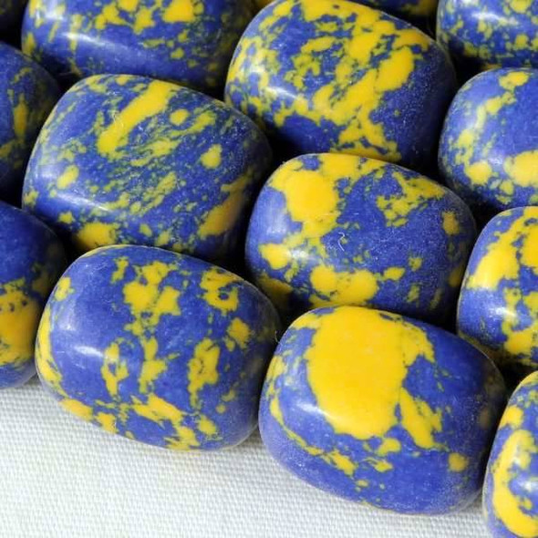 Synthetic Team Color 10x14mm Yale Blue and Yellow Nugget Beads - approx. 8 inch strand