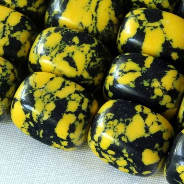 Synthetic Team Color 10x14mm Yellow and Black Nugget Beads - approx. 8 inch strand