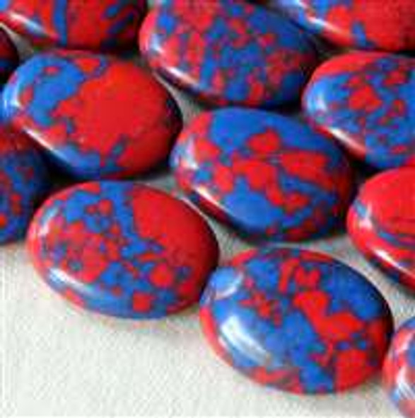 Synthetic Team Color 10x14mm Blue and Red Oval Beads - approx. 8 inch strand