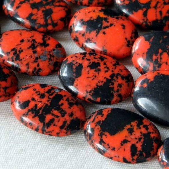 Synthetic Team Color 10x14mm Orange and Black Oval Beads - approx. 8 inch strand