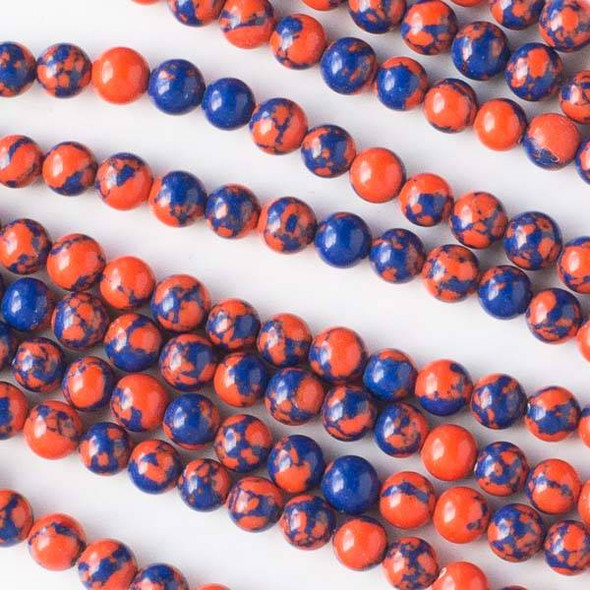 Special Synthetic Team Color 4mm Blue and Orange Round Beads - approx. 8 inch strand