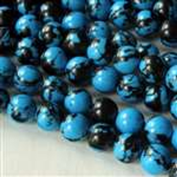 Synthetic Team Color 6mm Blue and Black Round Beads - approx. 8 inch strand