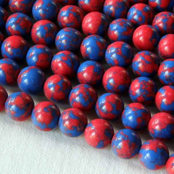 Synthetic Team Color 6mm Blue and Red Round Beads - approx. 8 inch strand