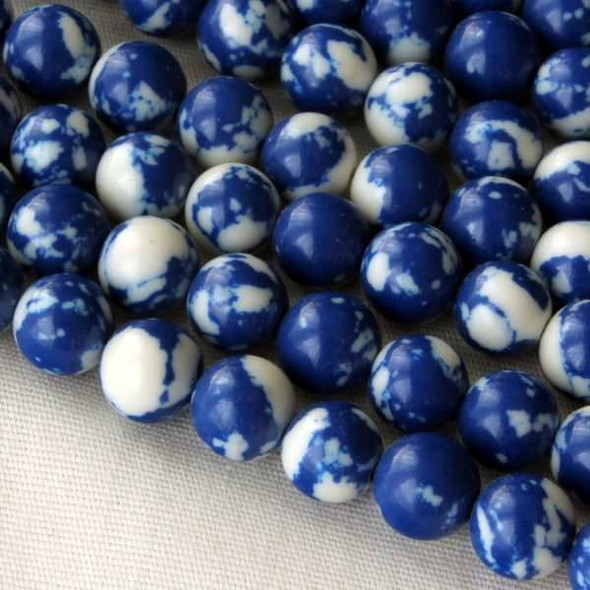 Synthetic Team Color 6mm Blue and White Round Beads - approx. 8 inch strand