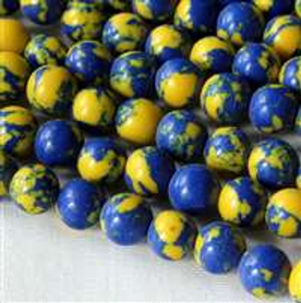 Synthetic Team Color 6mm Blue and Yellow Round Beads - approx. 8 inch strand