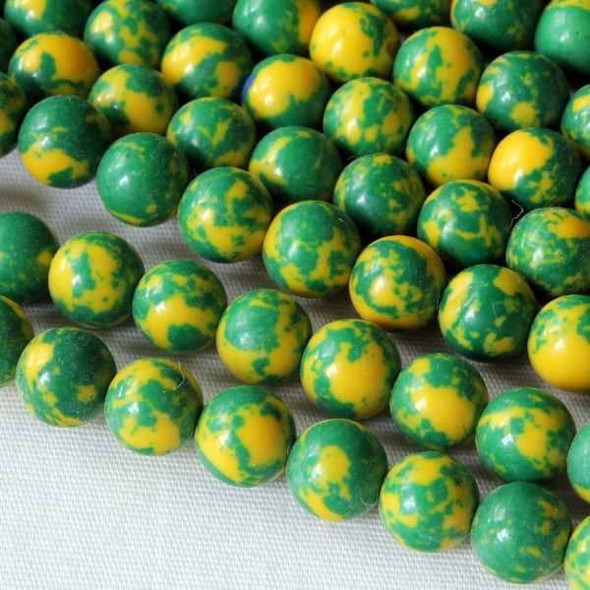Synthetic Team Color 6mm Green and Yellow Round Beads - approx. 8 inch strand