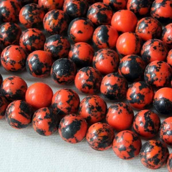 Synthetic Team Color 6mm Orange and Black Round Beads - approx. 8 inch strand