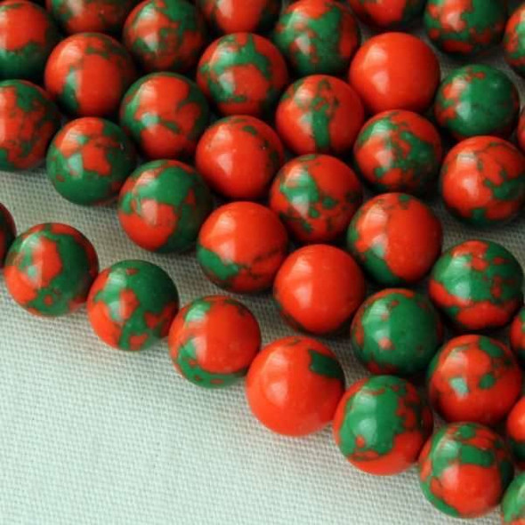 Synthetic Team Color 6mm Orange and Green Round Beads - approx. 8 inch strand