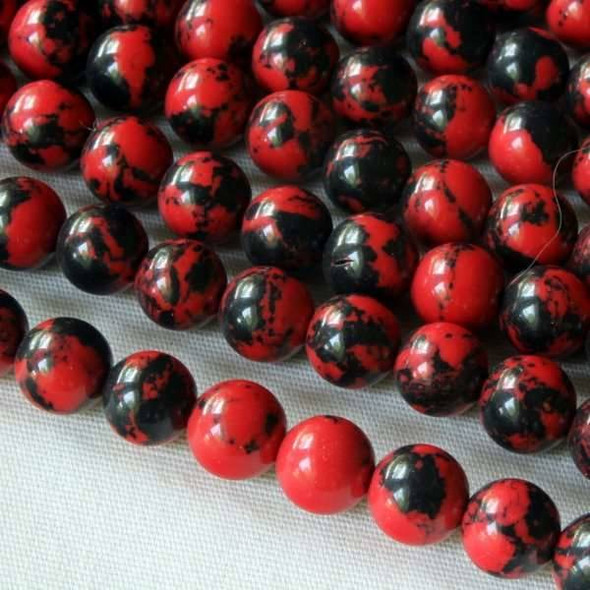 Synthetic Team Color 6mm Red and Black Round Beads - approx. 8 inch strand