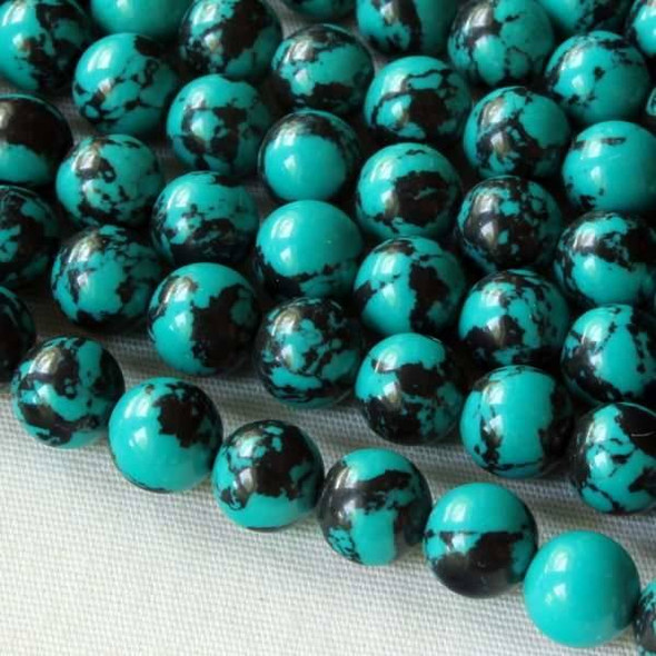 Synthetic Team Color 6mm Teal and Black Round Beads - approx. 8 inch strand