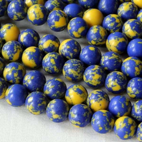 Synthetic Team Color 6mm Yale Blue and Yellow Round Beads - approx. 8 inch strand