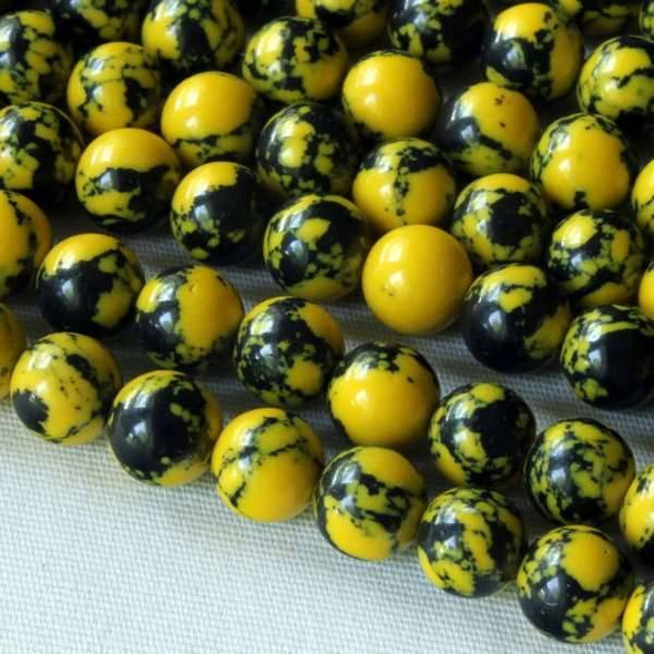 Synthetic Team Color 6mm Yellow and Black Round Beads - approx. 8 inch strand