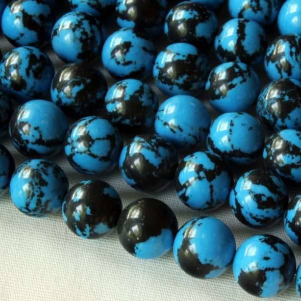 Synthetic Team Color 8mm Blue and Black Round Beads - approx. 8 inch strand