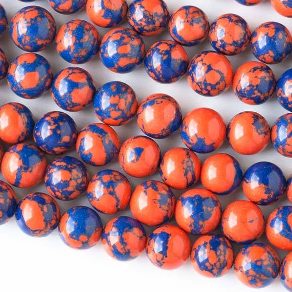 Synthetic Team Color 8mm Blue and Orange Round Beads - approx. 8 inch strand
