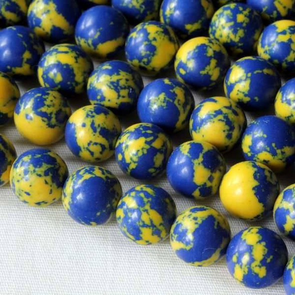 Synthetic Team Color 8mm Blue and Yellow Round Beads - approx. 8 inch strand