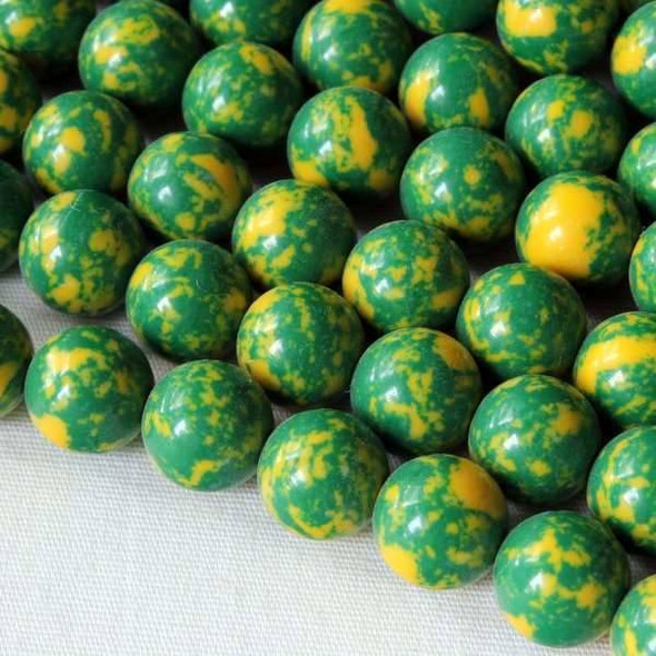 Synthetic Team Color 8mm Green and Yellow Round Beads - approx. 8 inch strand