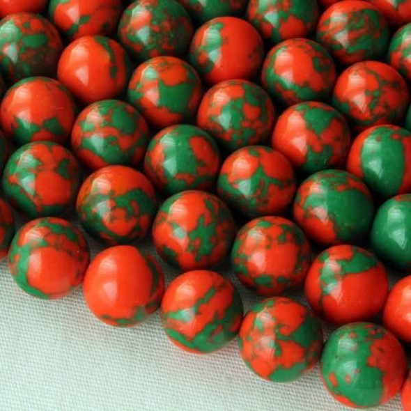 Synthetic Team Color 8mm Orange and Green Round Beads - approx. 8 inch strand