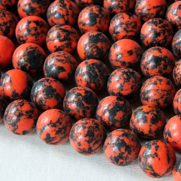 Synthetic Team Color 8mm Orange and Black Round Beads - approx. 8 inch strand