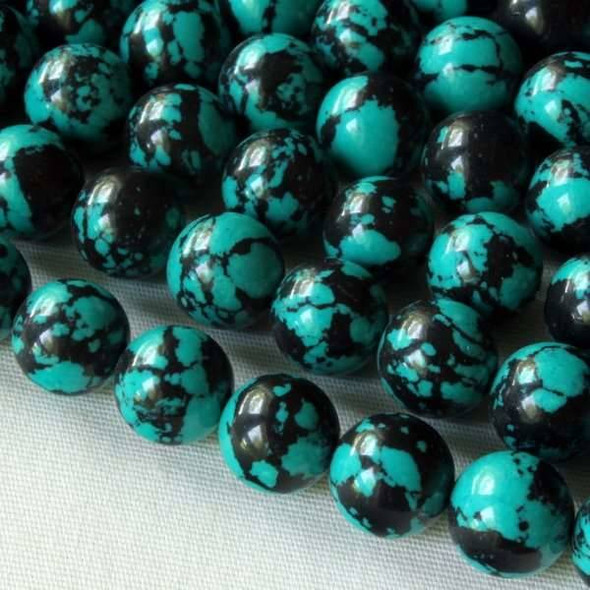 Synthetic Team Color 8mm Teal and Black Round Beads - approx. 8 inch strand