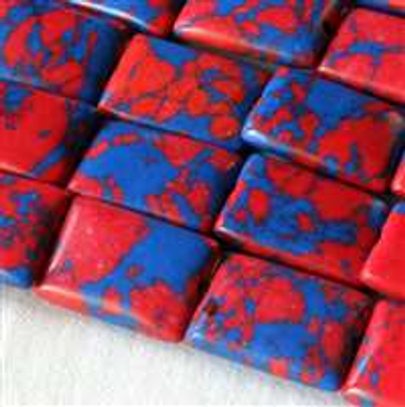 Synthetic Team Color 10x14mm Blue and Red Rectangle Beads - approx. 8 inch strand