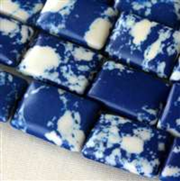 Synthetic Team Color 10x14mm Blue and White Rectangle Beads - approx. 8 inch strand