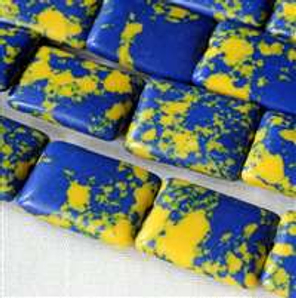 Synthetic Team Color 10x14mm Blue and Yellow Rectangle Beads - approx. 8 inch strand