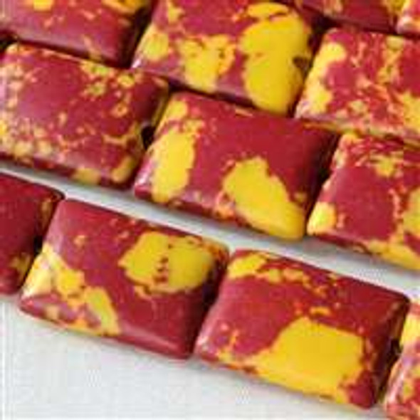 Synthetic Team Color 10x14mm Burgundy and Yellow Rectangle Beads - approx. 8 inch strand