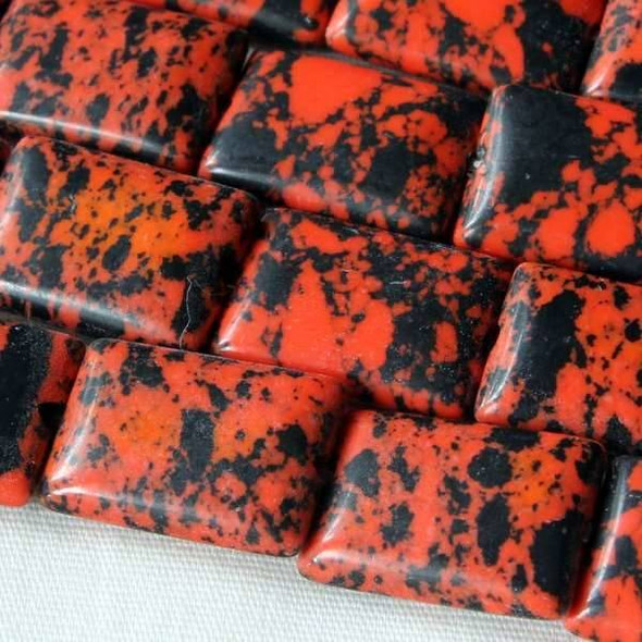 Synthetic Team Color 10x14mm Orange and Black Rectangle Beads - approx. 8 inch strand