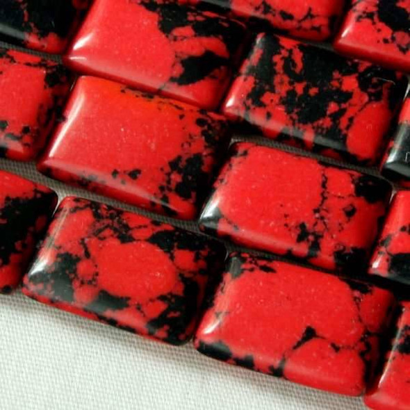 Synthetic Team Color 10x14mm Red and Black Rectangle Beads - approx. 8 inch strand