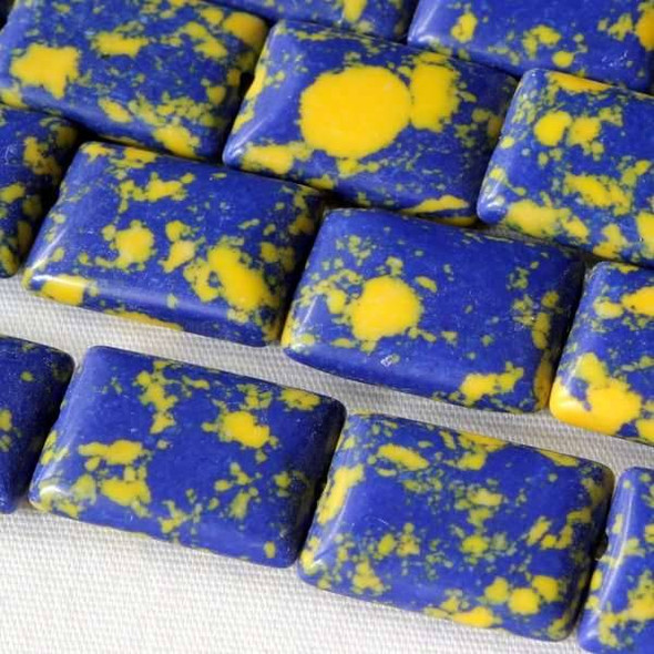 Synthetic Team Color 10x14mm Yale Blue and Yellow Rectangle Beads - approx. 8 inch strand